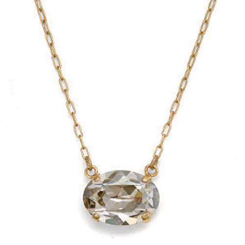 Oval Stone Crystal Necklace - Shade & Gold