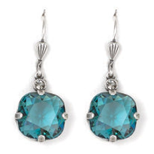 Catherine Popesco Large Stone Crystal Earrings - Teal and Silver