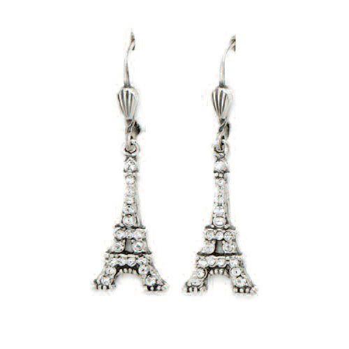 Eiffel Tower Silver Crystal Earrings