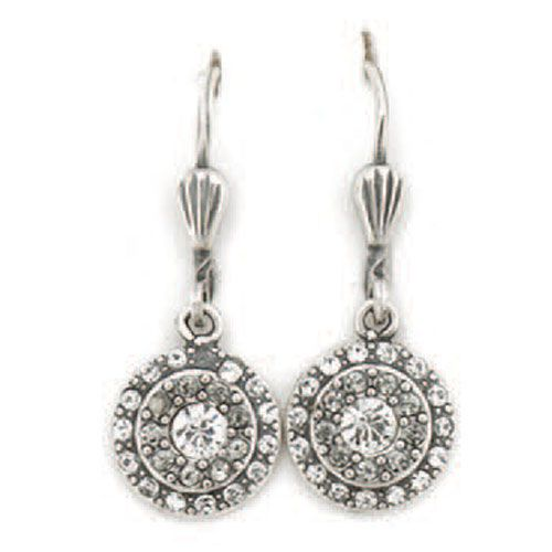Catherine Popesco Small Paved Round Crystal Earrings - Silver