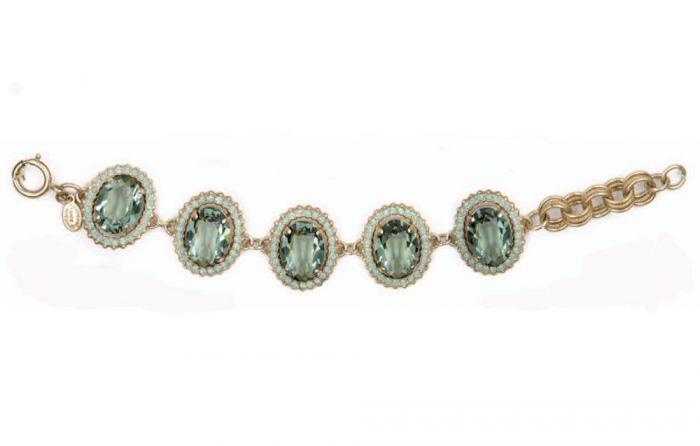 Catherine Popesco Oval Crystal Frame Bracelet - Marine & Gold