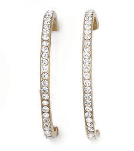 Catherine Popesco Gold & Crystal Large Hoop Earrings