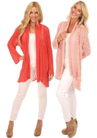 Lost River Popcorn Knit Open Cardigan Sweater - Assorted Colors