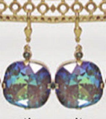 Catherine Popesco Jumbo Stone Crystal Earrings - Ultra Coco and Gold