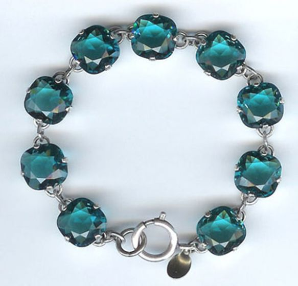 Catherine Popesco Large Stone Crystal Bracelet - Teal and Silver