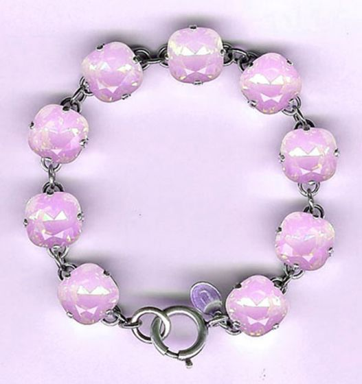 Catherine Popesco Large Stone Crystal Bracelet - Pink Rosewater and Silver