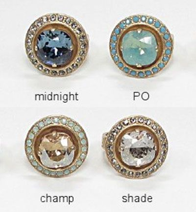 Catherine Popesco Round Large Stone Crystal Ring - Assorted Colors