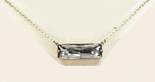 Shade & Gold Large Rectangle Stone Crystal Necklace