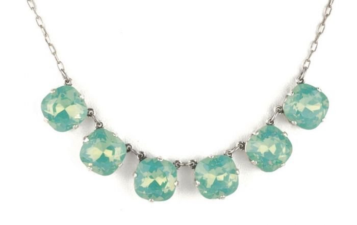Large Stone Six Crystal Necklace - Pacific Opal & Silver