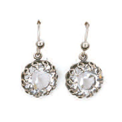 Catherine Popesco Round Crown Setting Crystal Drop Earrings