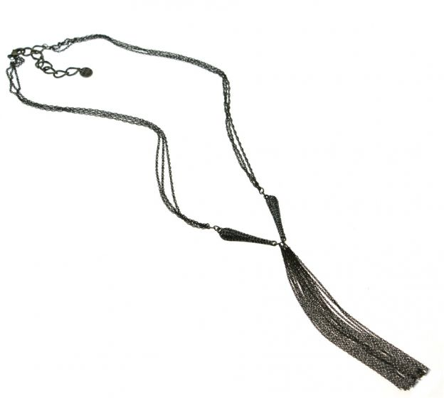 Sweet Lola Antique Bronze Chains with Black Diamonds & Tassel Necklace