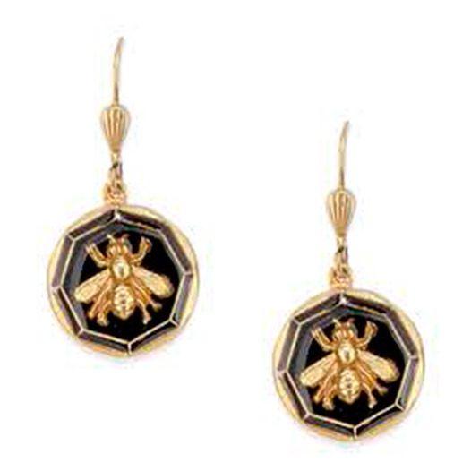 Catherine Popesco Black French Enamel Round Bee Earrings
