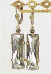 Catherine Popesco Long Rectangle Crystal Earrings - Shade and Gold