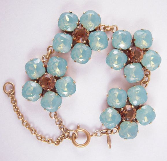 Large Crystal Flower Bracelet - Pasific Opal and Gold