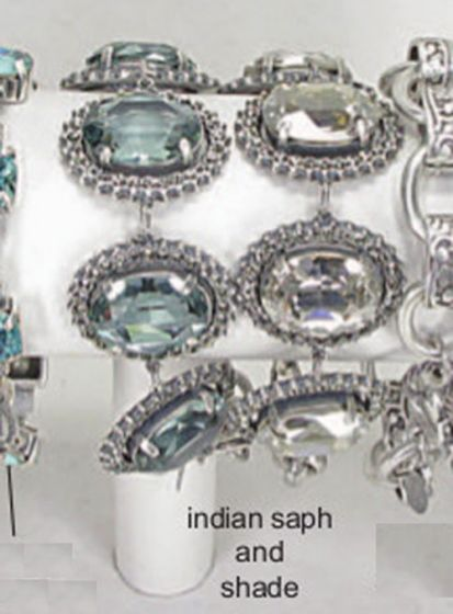Catherine Popesco Oval Crystal Frame Bracelet - Indian Sapphire or Shade & Silver