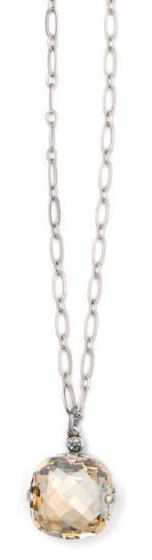 Ex-Large Stone Crystal Necklace - Champagne and Silver
