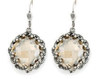 Catherine Popesco Fancy Ex-large Stone Round Earrings - Champagne and Silver