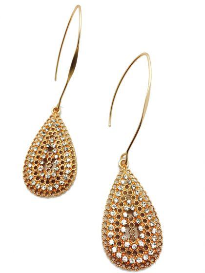 Mat Gold Long Drop Teardrop Shape Crystal Earrings by Sweet Lola
