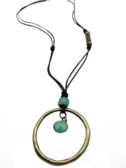 Boho! Sweet Lola Necklace Long Leather Cord with Pacific Opal Crystals