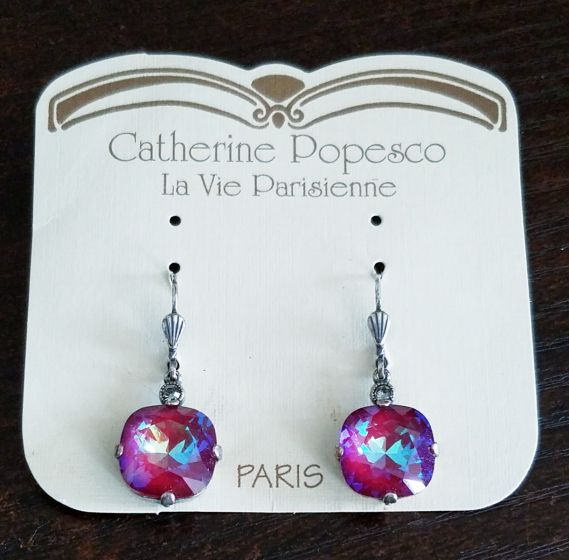Catherine Popesco Large Stone Crystal Earrings - Blue Ruby and Silver