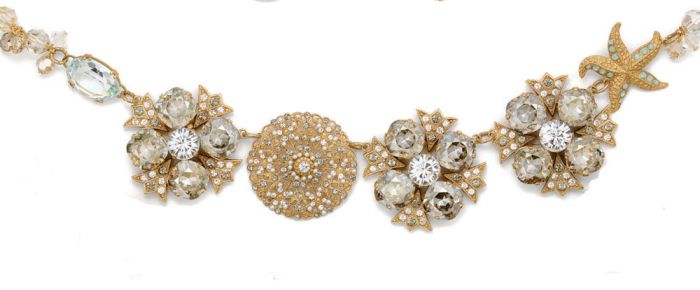 Catherine Popesco Crystal & Gold Collar Necklace