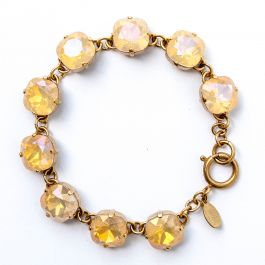 Catherine Popesco Large Stone Crystal Bracelet - Pink Champagne and Gold