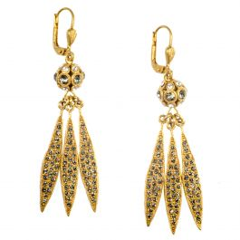 b5f9ee060 Catherine Popesco Dainty Leaf Crystal Earrings in Shade and Gold