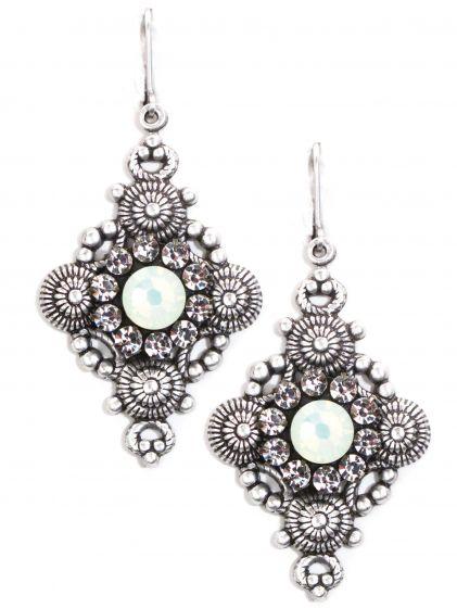 Clara Beau Earrings - Ornate Diamond Shape Silver and Chrysolite Opal