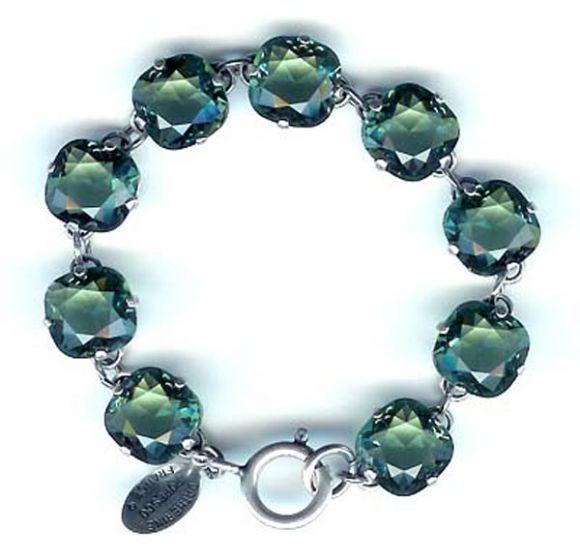 Catherine Popesco Large Stone Crystal Bracelet - Marine and Silver