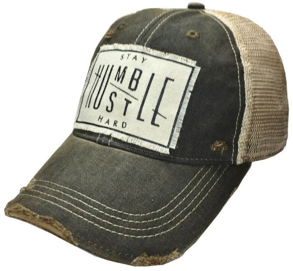 """Stay Humble Hustle Hard"" Women's Trucker Baseball Cap Black Distressed Hat"