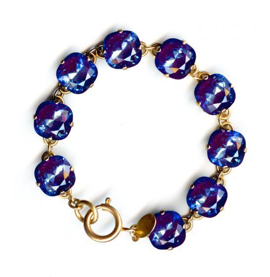 Catherine Popesco Large Stone Crystal Bracelet - Ultra Purple and Gold