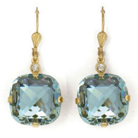 Ex-Large Stone Crystal Earrings - Indian Sapphire and Gold