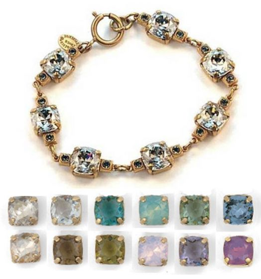 Medium Stone Crystal Bracelet - Khaki and Gold