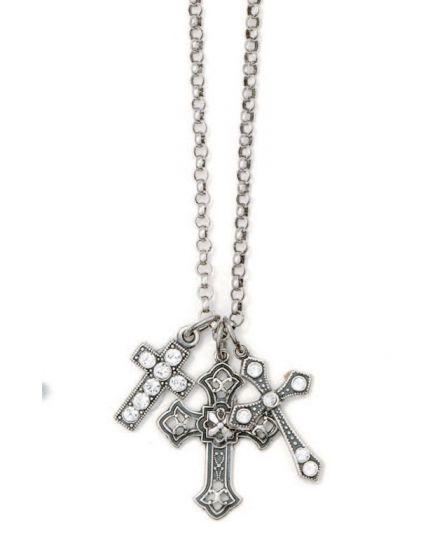 La Vie Silver Triple Cross Charm Crystal Necklace