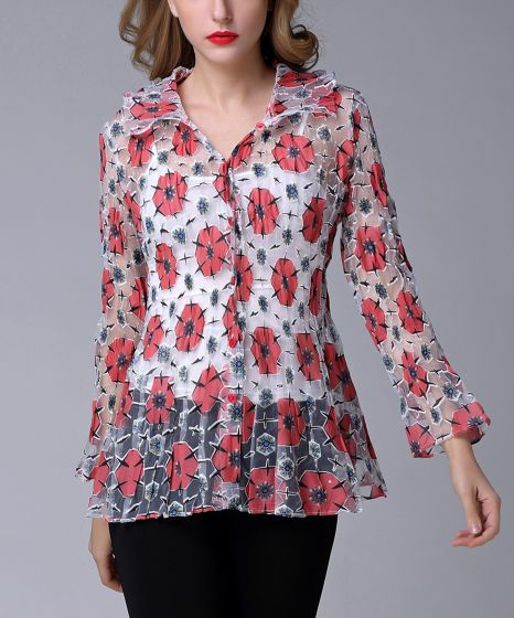 Sheer Red Poppy Flower Button-Up Blouse by Jerry T Fashion NY