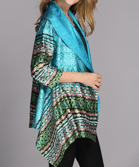Turquoise or Silver Textured Sidetail Jacket by Jerry T Fashion NY