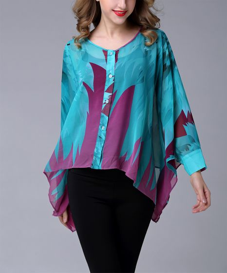 Teal or Gold Cape-Sleeve Button-Up Top & Cami by Jerry T Fashion NY