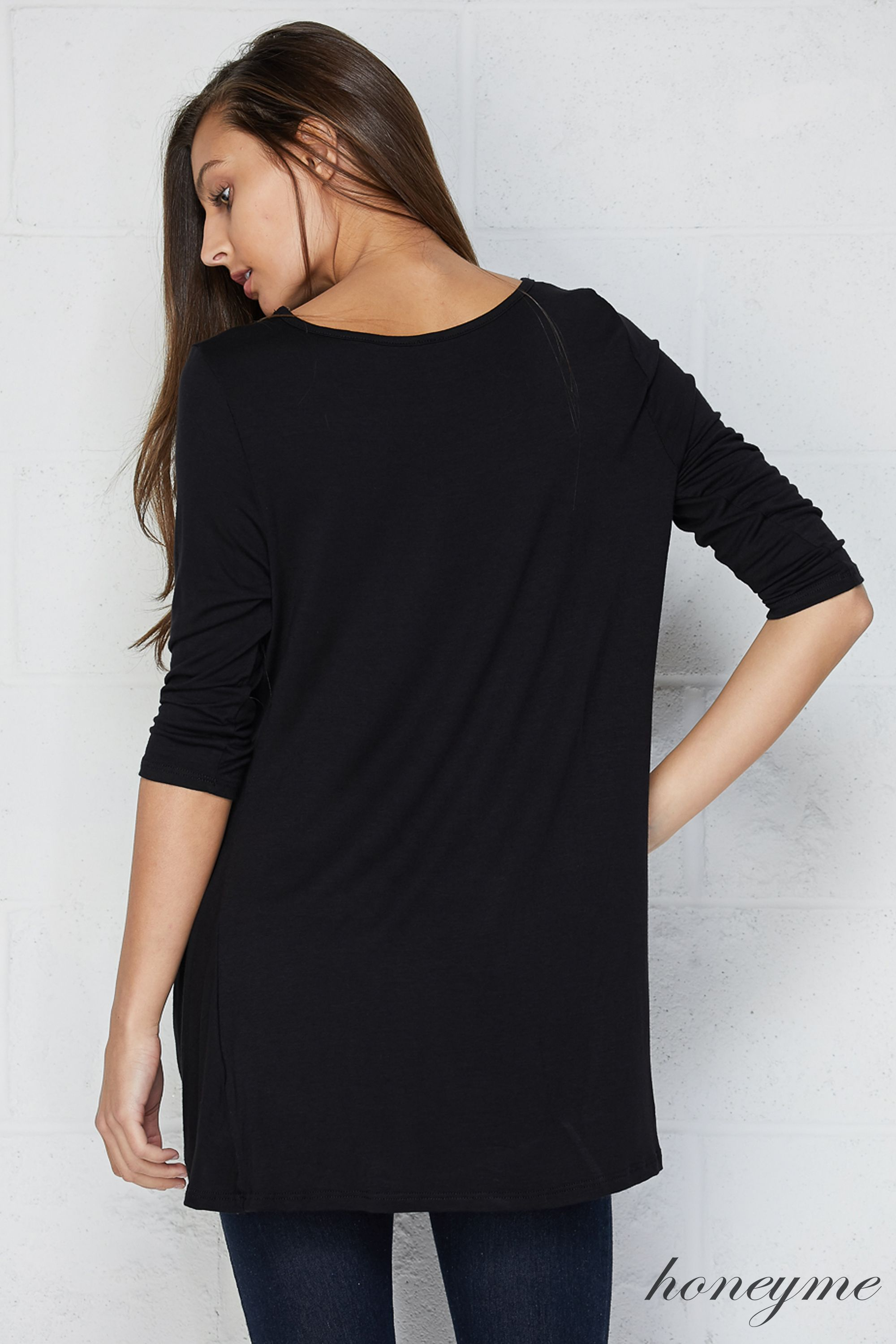 Honeyme Clothing USA Knot High-Low Top - Black Plus Size - Curvy