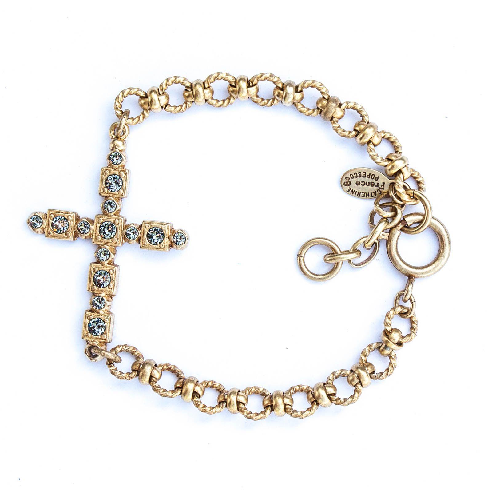 Catherine Popesco Ornate Crystal Cross Gold Bracelet