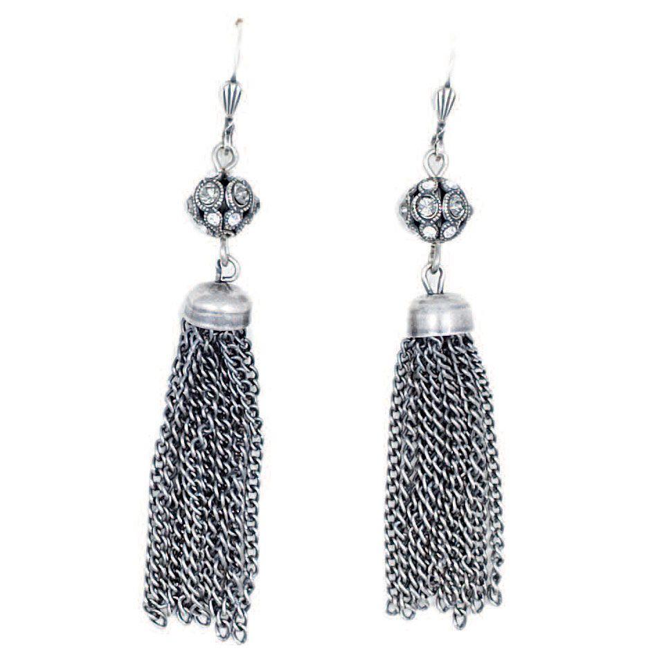3f3d51346 Catherine Popesco Crystal Orb Tassel Earrings - Gold or Silver