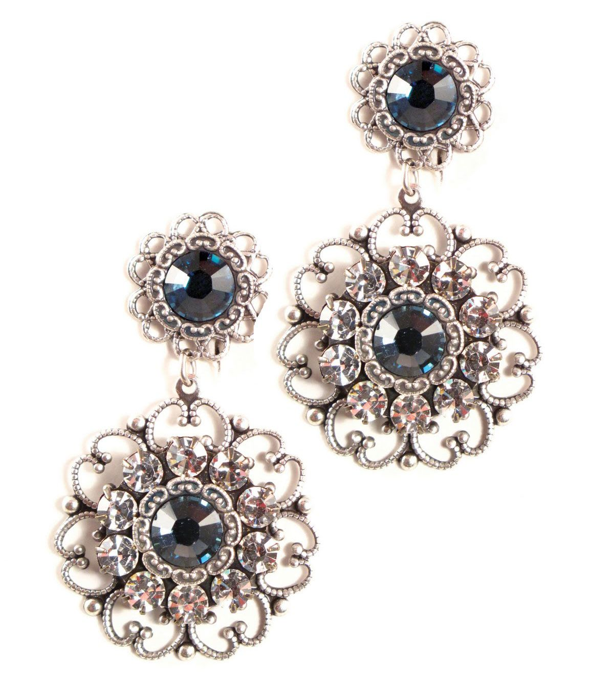 Antique Silver Filigree Montana Blue Crystal Earrings Touch To Zoom
