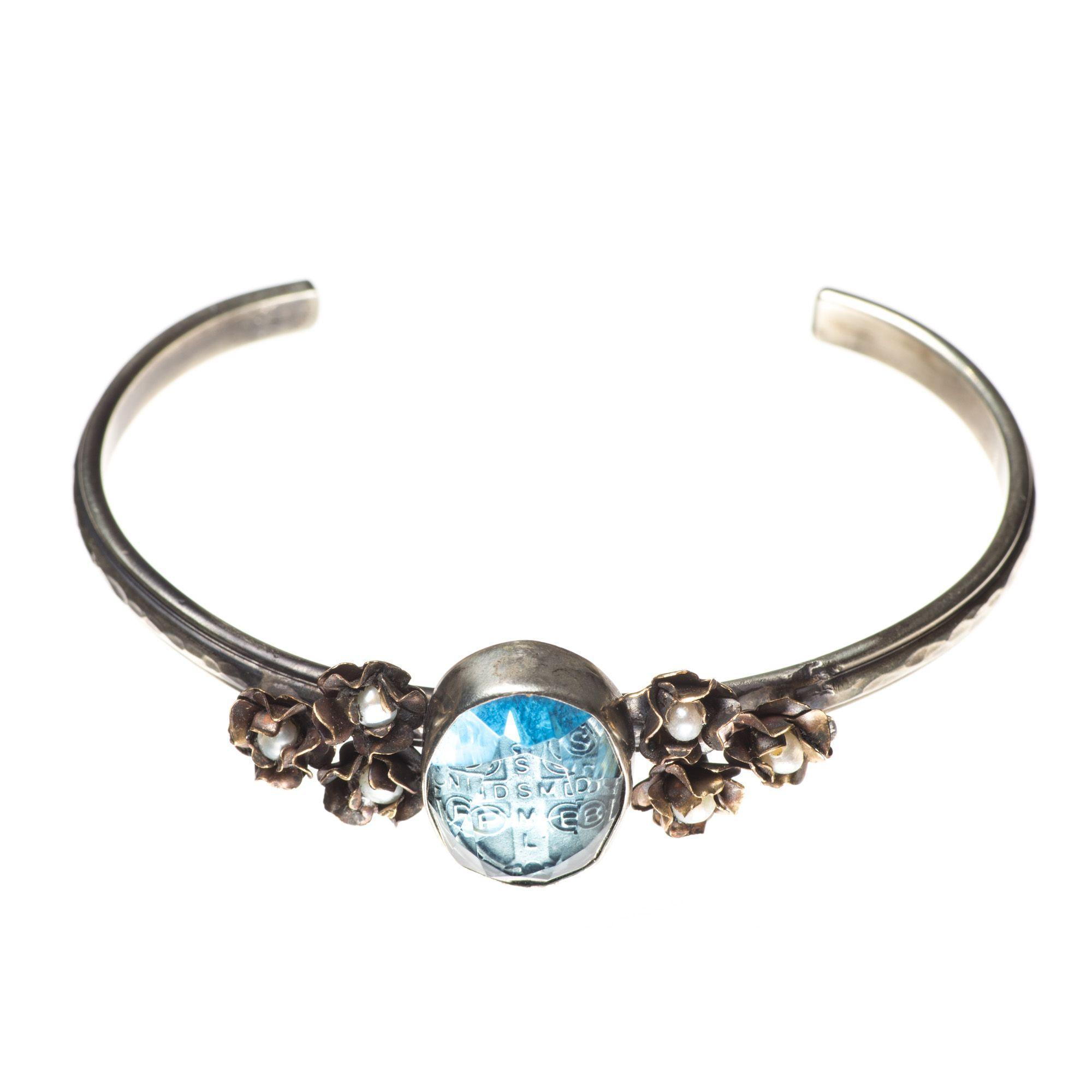 07bb8f943f7 Barbosa Bracelet St Benito Cross Blue Glass with Mini Pearl Roses Skinny  Cuff