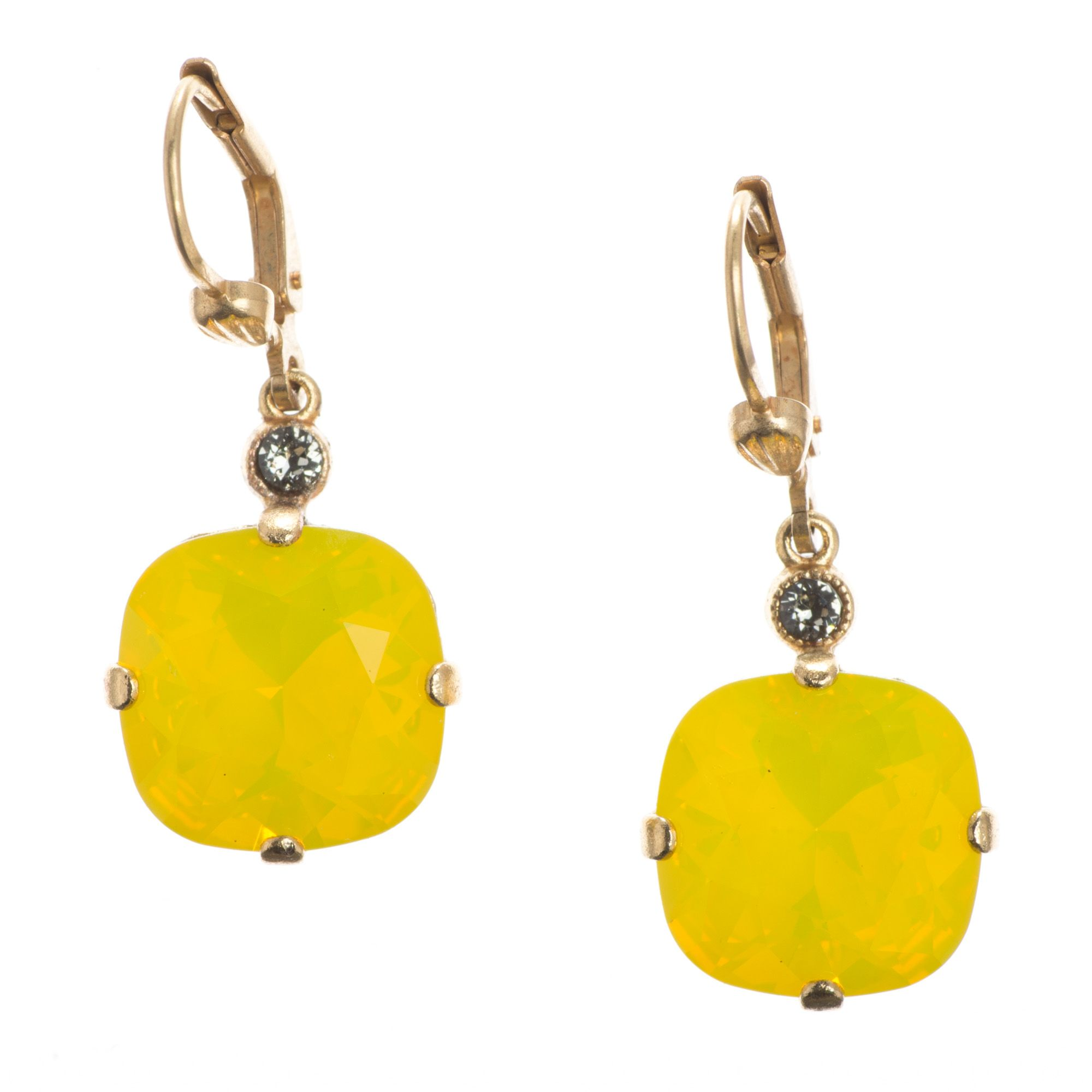Catherine Popesco Large Stone Crystal Earrings Canary Yellow