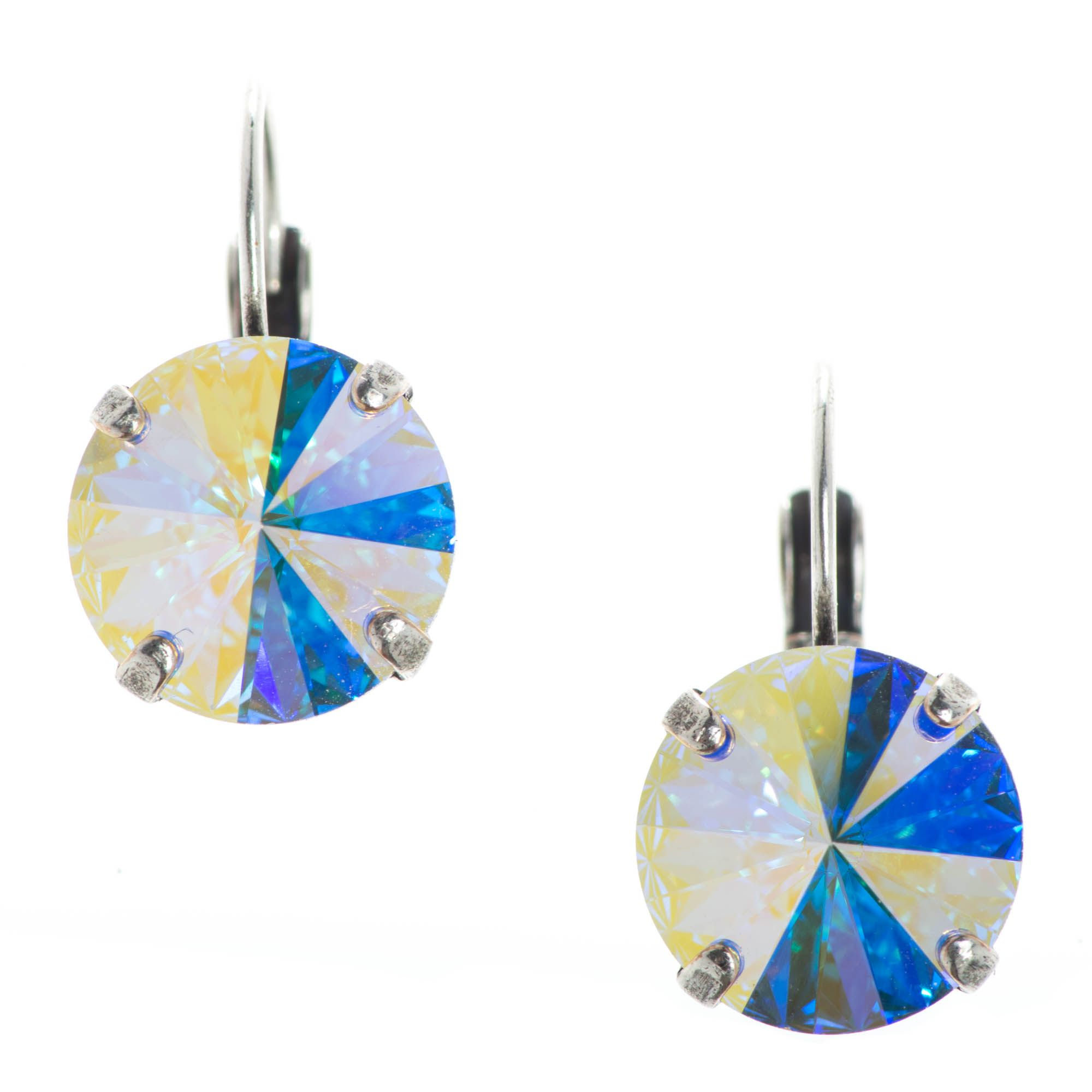 Ypmco 12mm Aurora Borealis Rivoli Swarovski Crystal Earrings