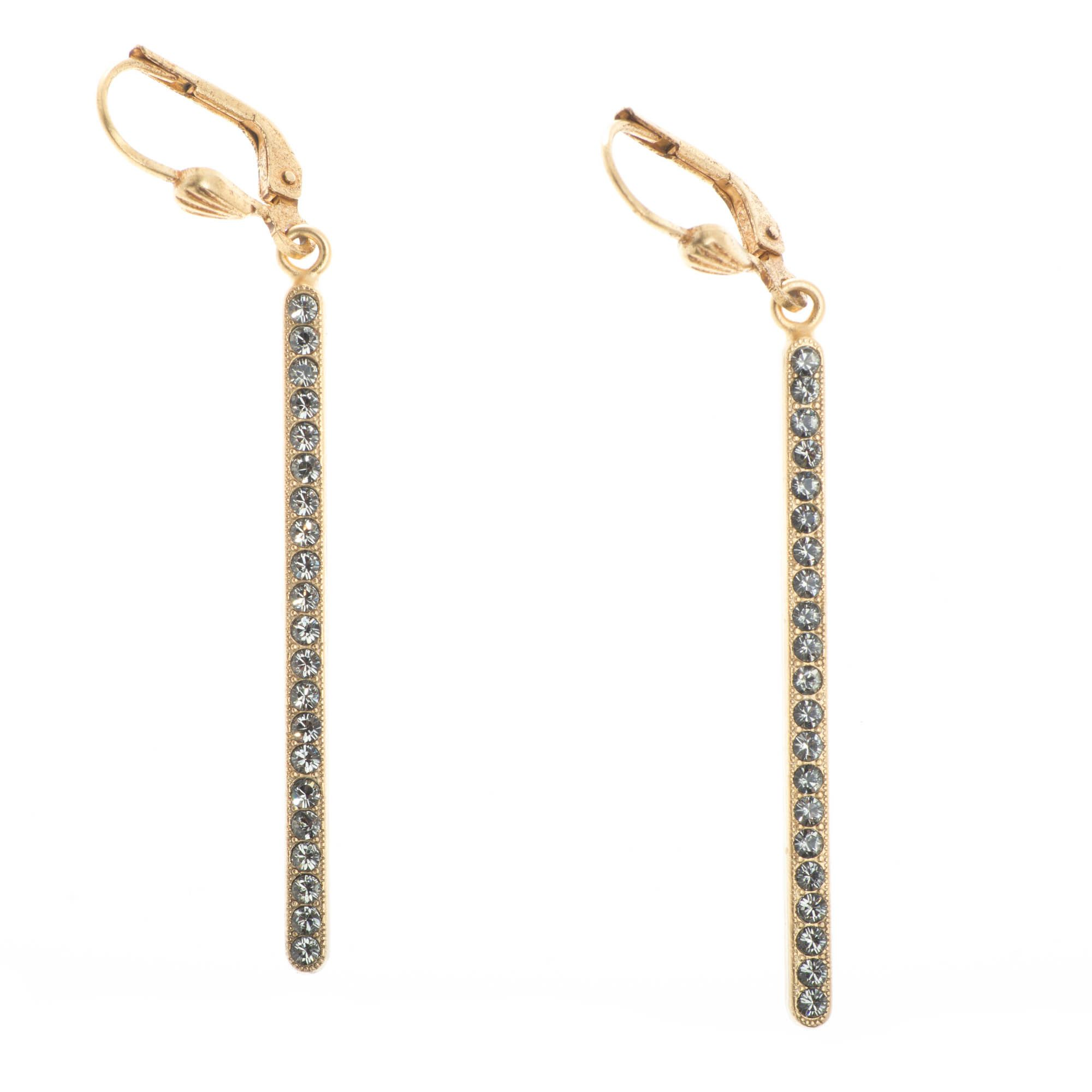 various styles classic styles great deals 2017 Catherine Popesco Gold Long Crystal Stone Bar Dangle Earrings