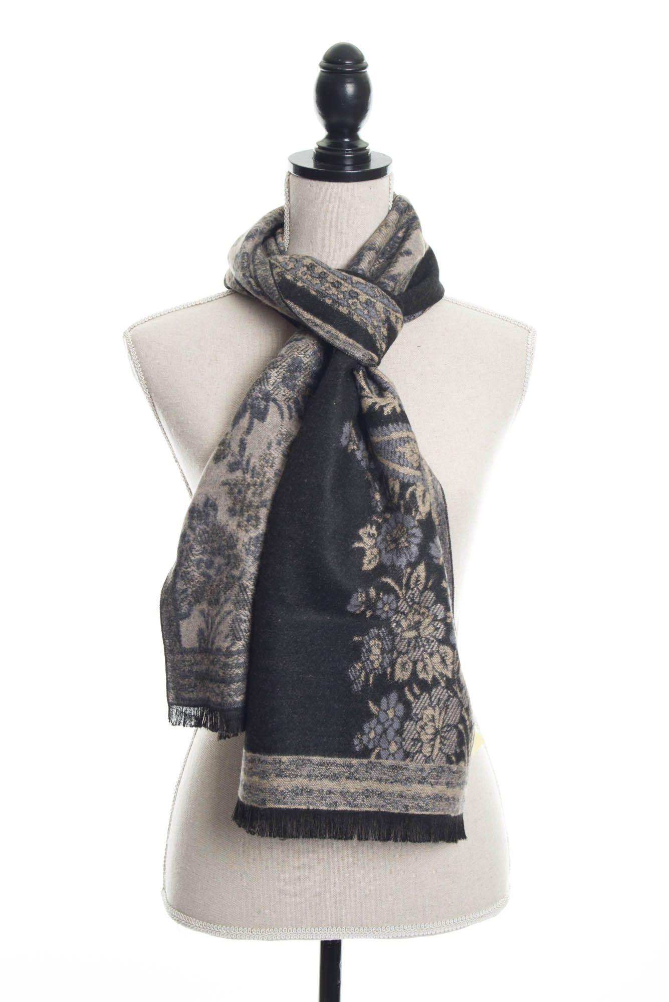 4825a74ed 100% Cashmere Floral Paisley Scarf by Rapti Fashion - Black & Tan