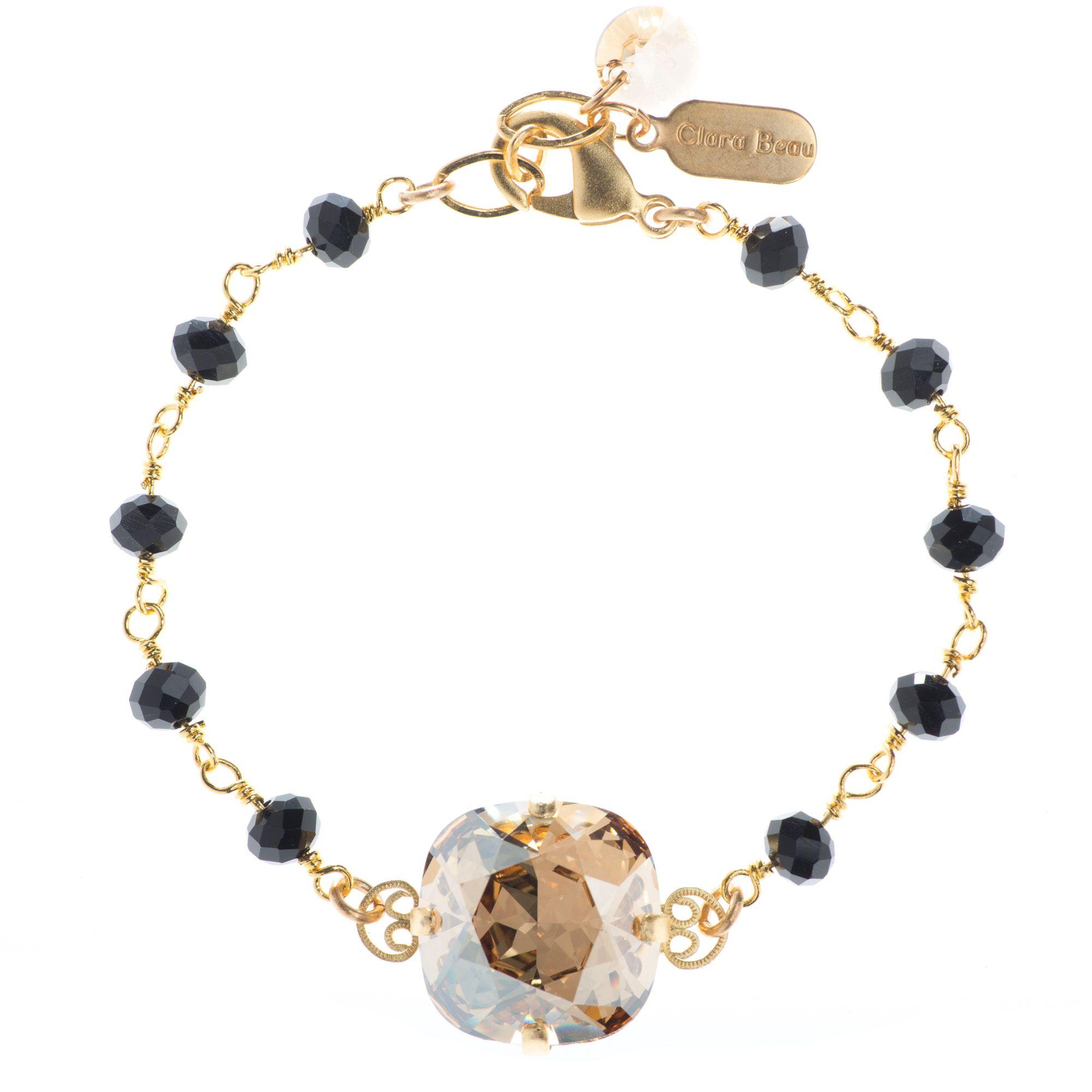 Clara Beau Elegant 18mm Golden Shadow Swarovski Black Beaded Bracelet
