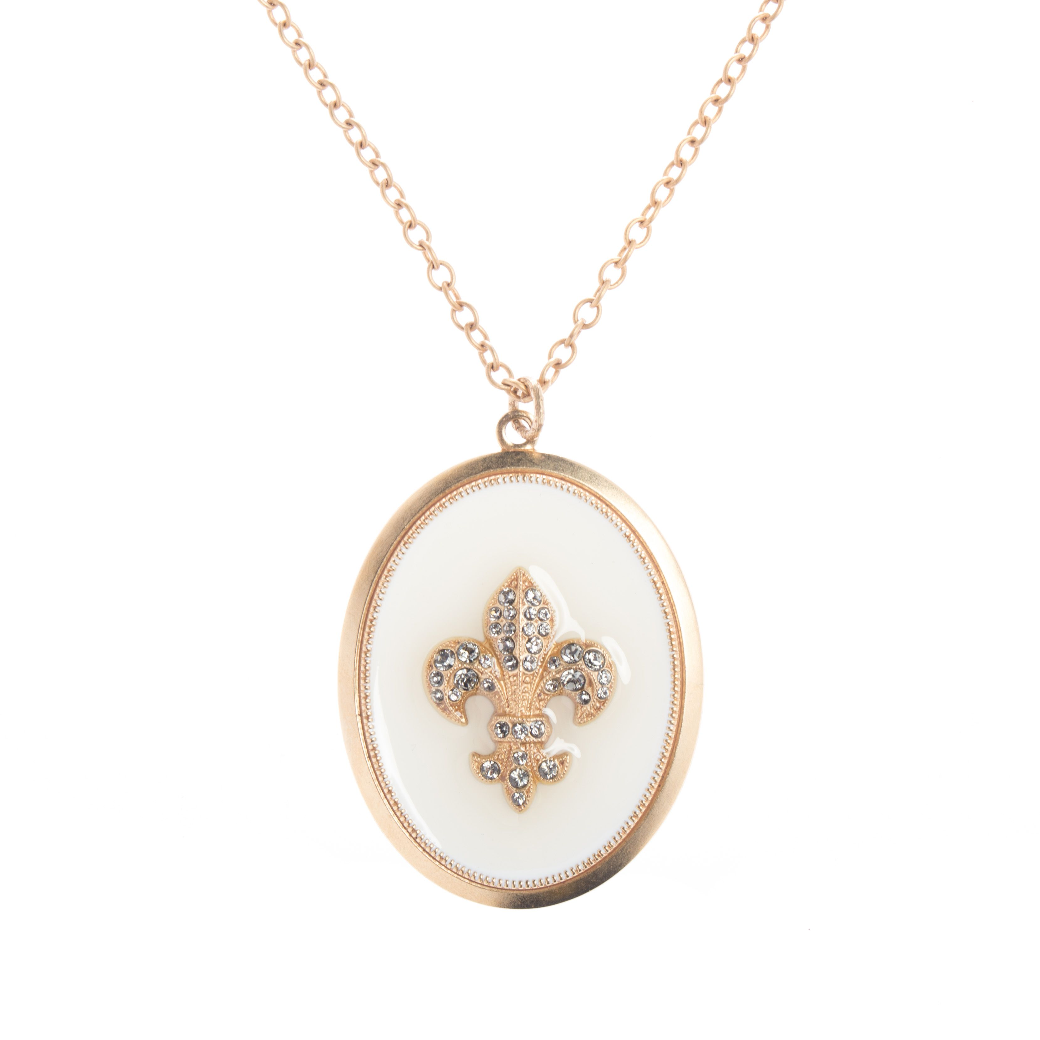 7dae1cdfcc3a7 Catherine Popesco Large Oval Crystal Fleur-de-Lis French Enamel Necklace