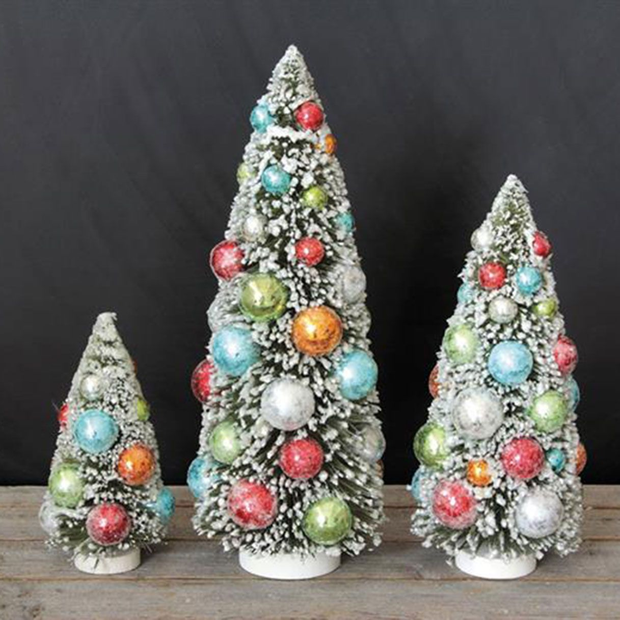 best cheap 22592 1a6a0 Creative Co-Op Set of 3 Bottle Brush Christmas Trees with Balls