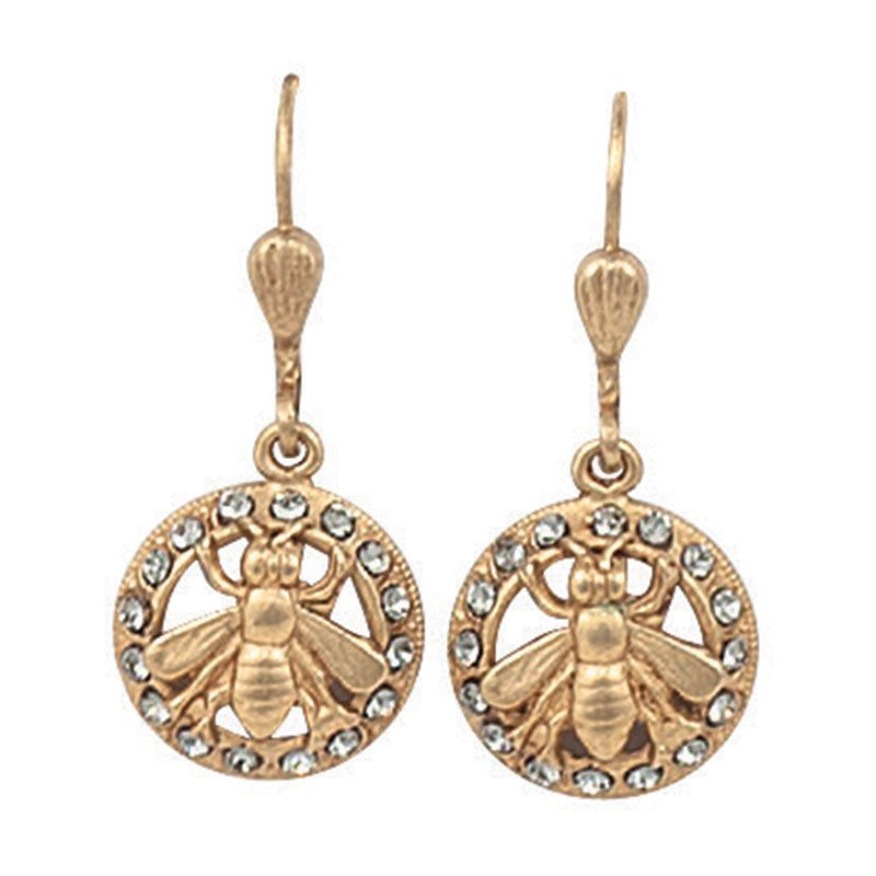 f942891d1d1b5 Catherine Popesco Gold Bee in Circle Black Diamond Crystal Earrings